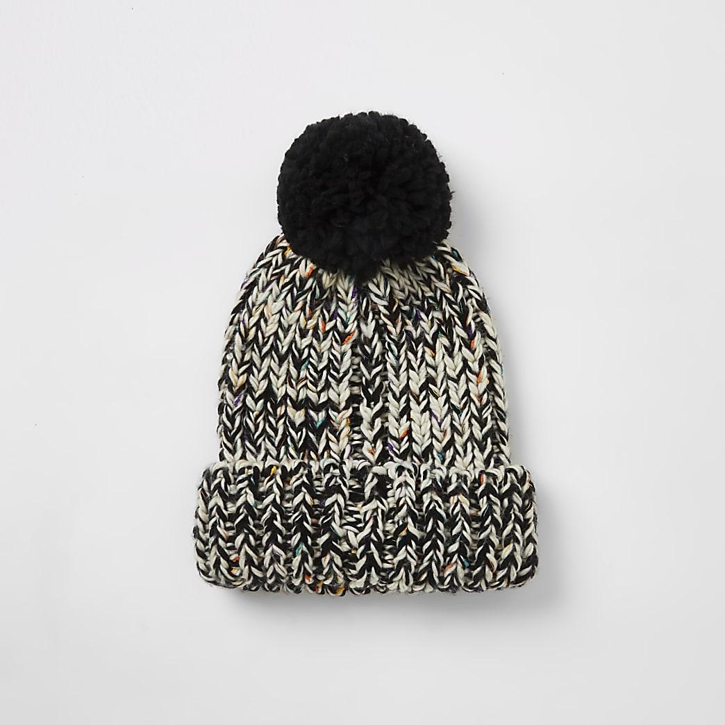 Ecru twist knitted bobble hat