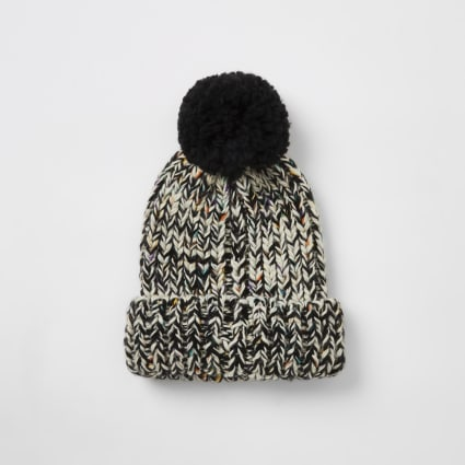 Ecru twist knitted bobble hat