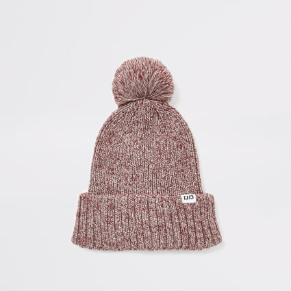Red twist knitted bobble beanie hat