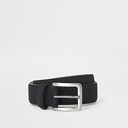 Black faux suede RI monogram belt