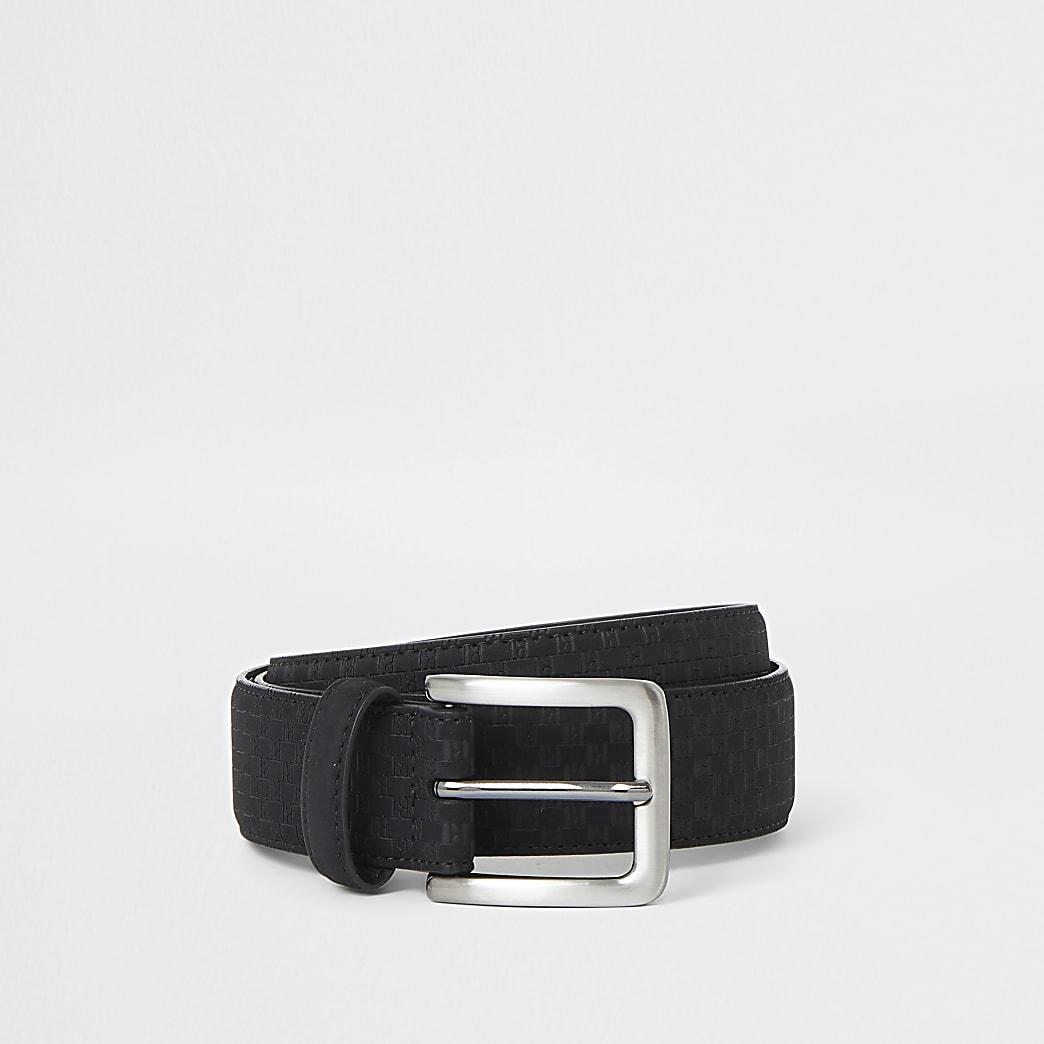 Black faux suede RI monogram belt