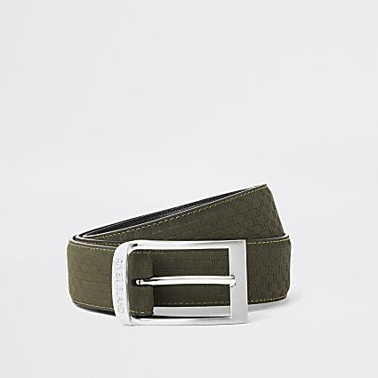 Khaki RI monogram belt