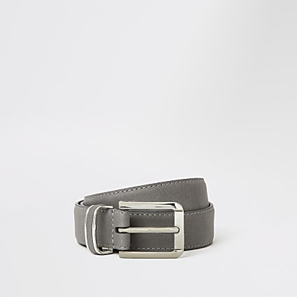 Grey faux suede buckle