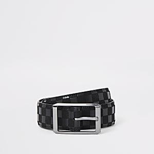 Zwarte riem met dambord print