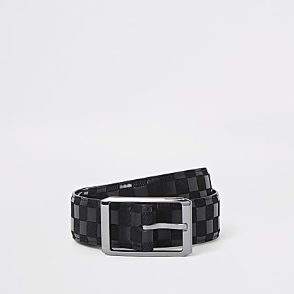 Black checkerboard print belt