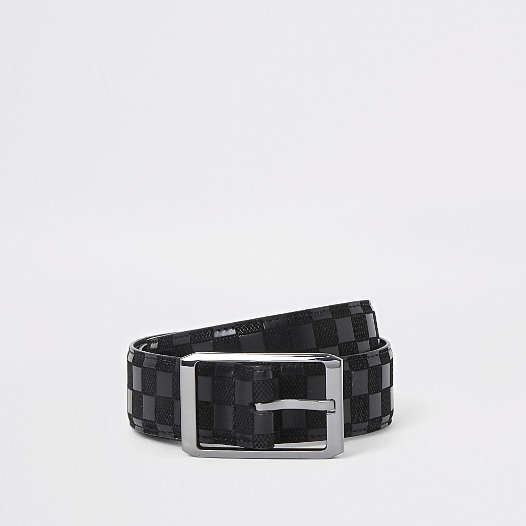 Black checkerboard print belt