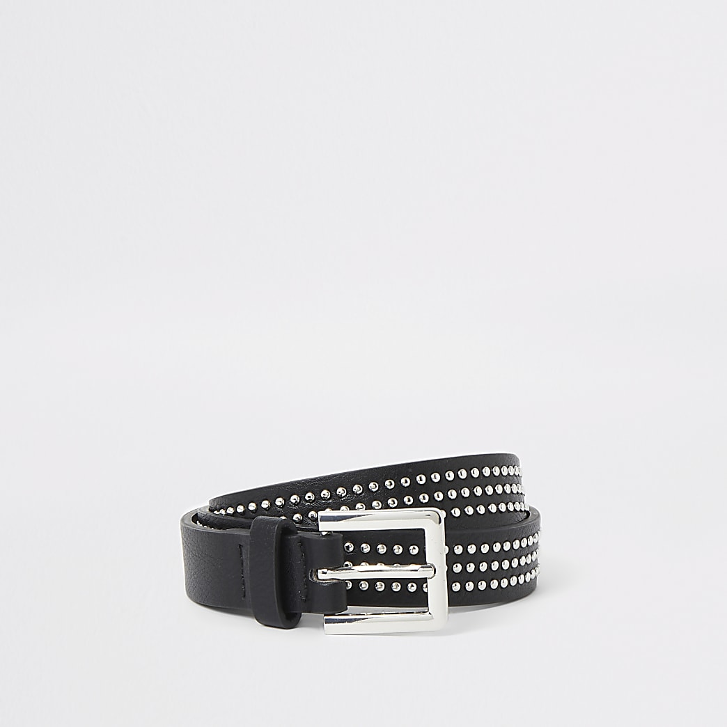 Black studded slim belt