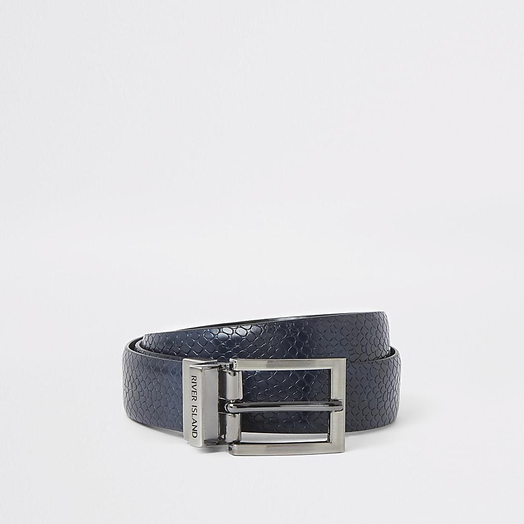 Navy snake skin print reversible belt