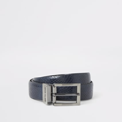 Navy snake skin print reversible belt