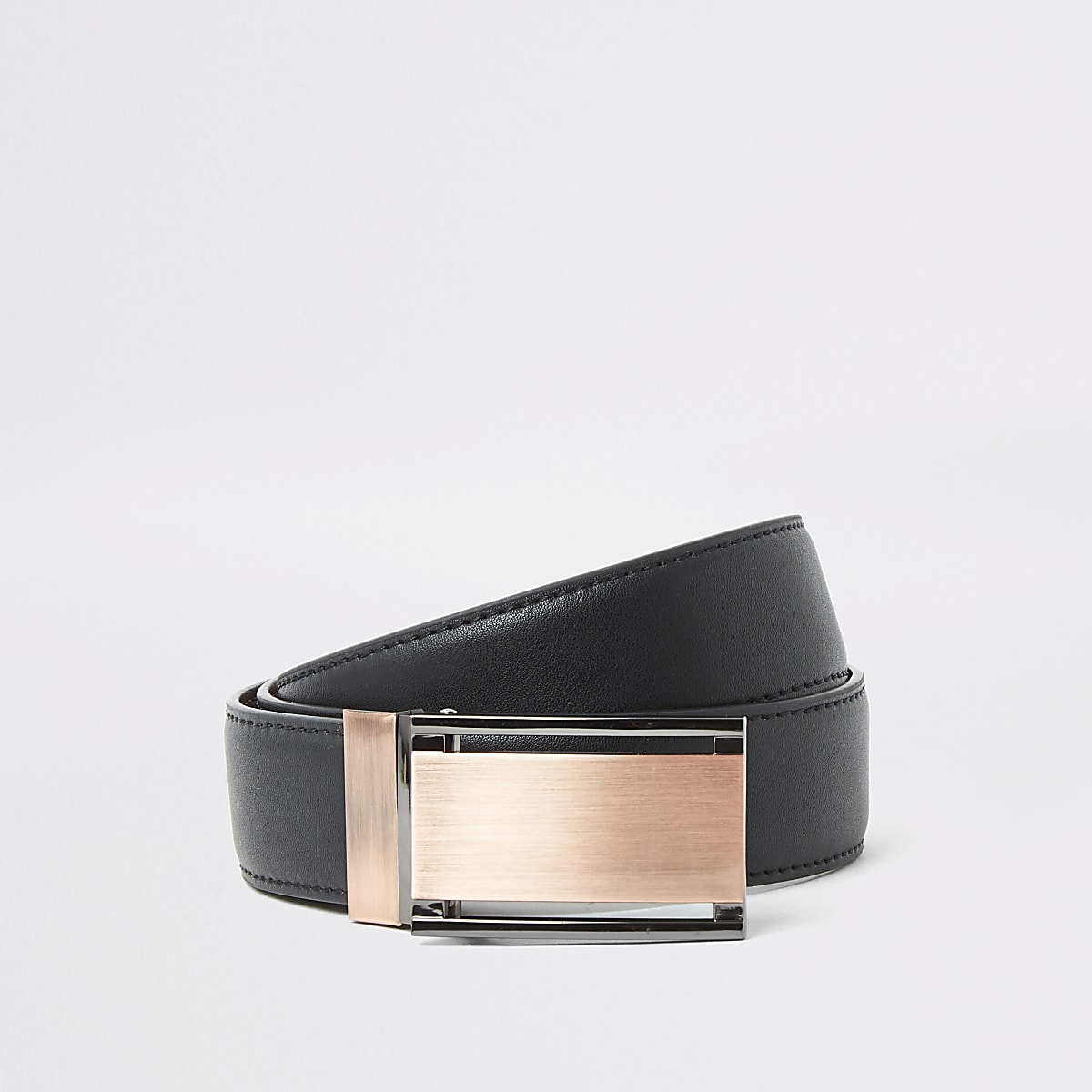 Brown reversible rose gold plated belt