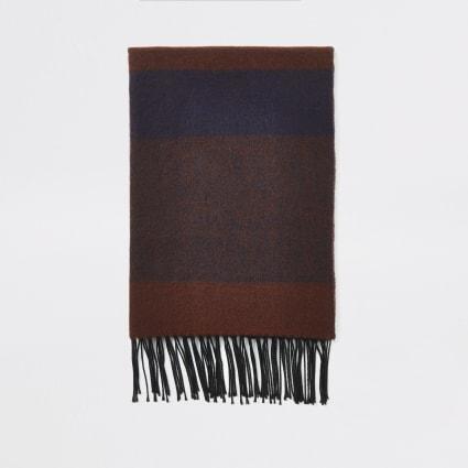 Dark red check blanket scarf