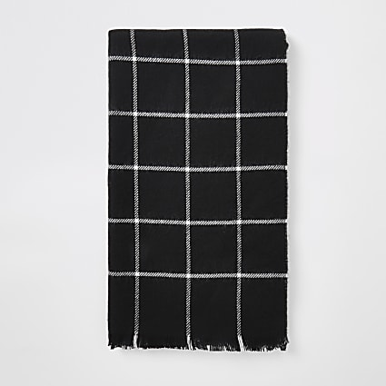 Black check print scarf