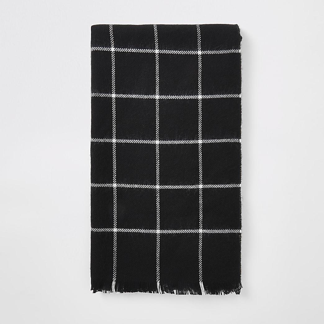Zwarte geruite sjaal met print