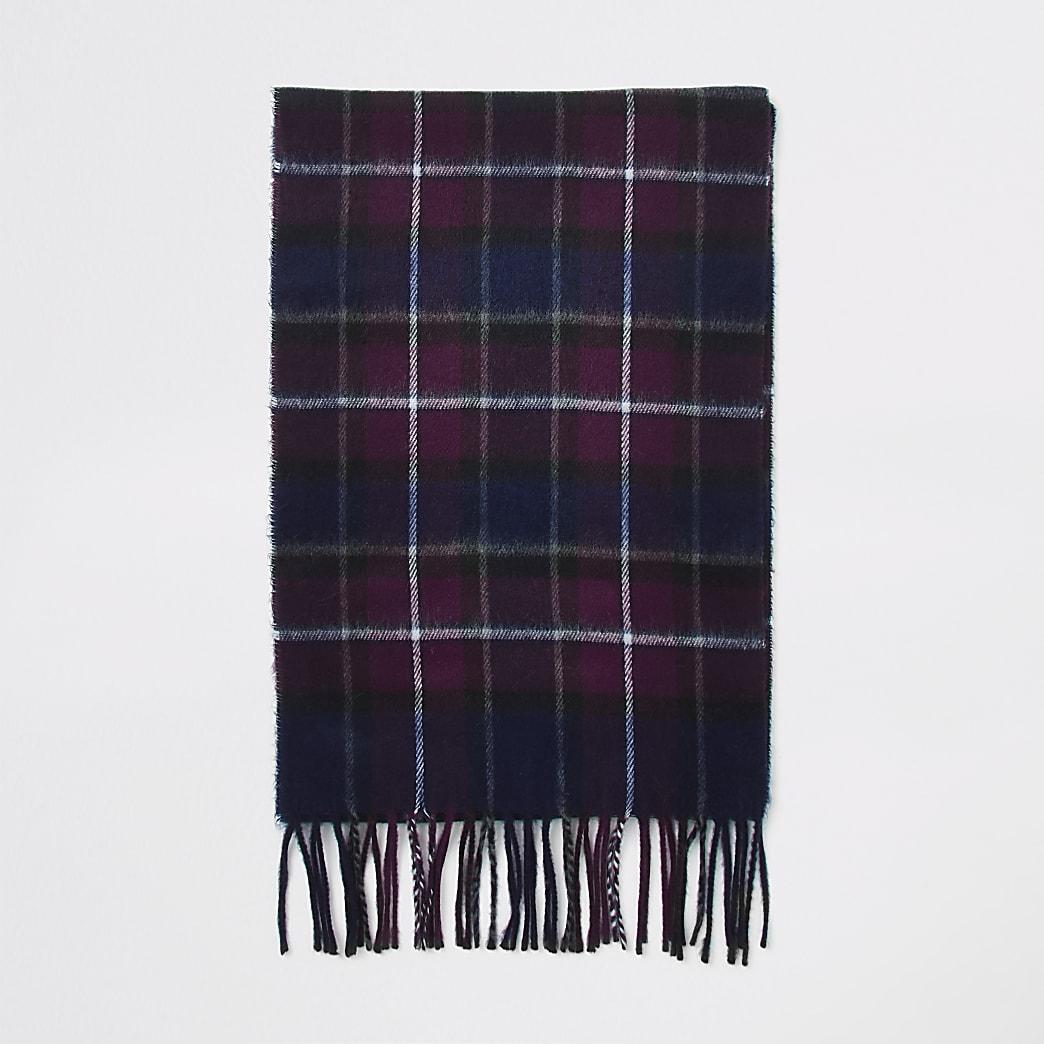Écharpe à carreaux bordeaux