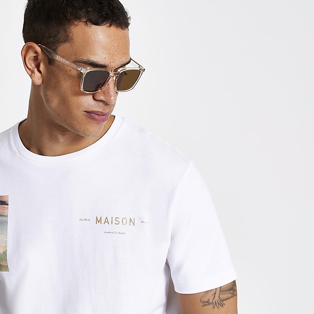 Brown slim retro square sunglasses