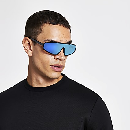Black blue tinted lens visor sunglasses