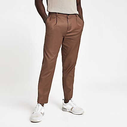 Brown skinny stretch tapered Chester trouser
