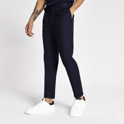 Navy skinny stretch tapered trousers