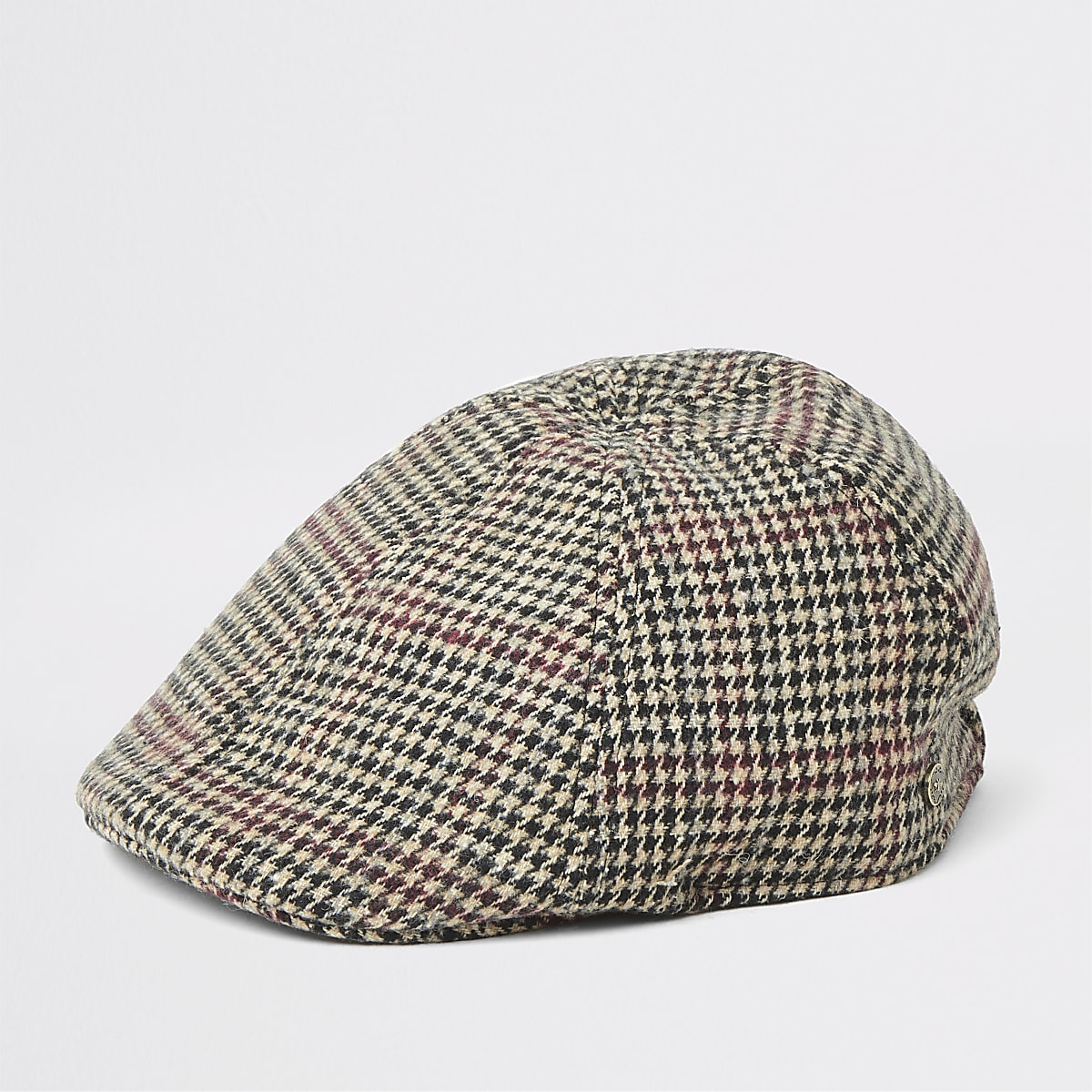 Brown check flat cap