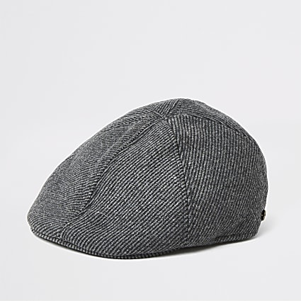 Dark grey herringbone flat cap