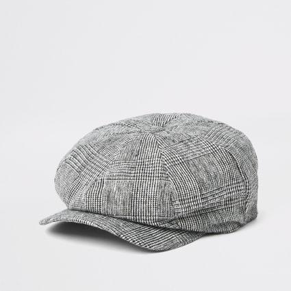 Grey check baker boy hat