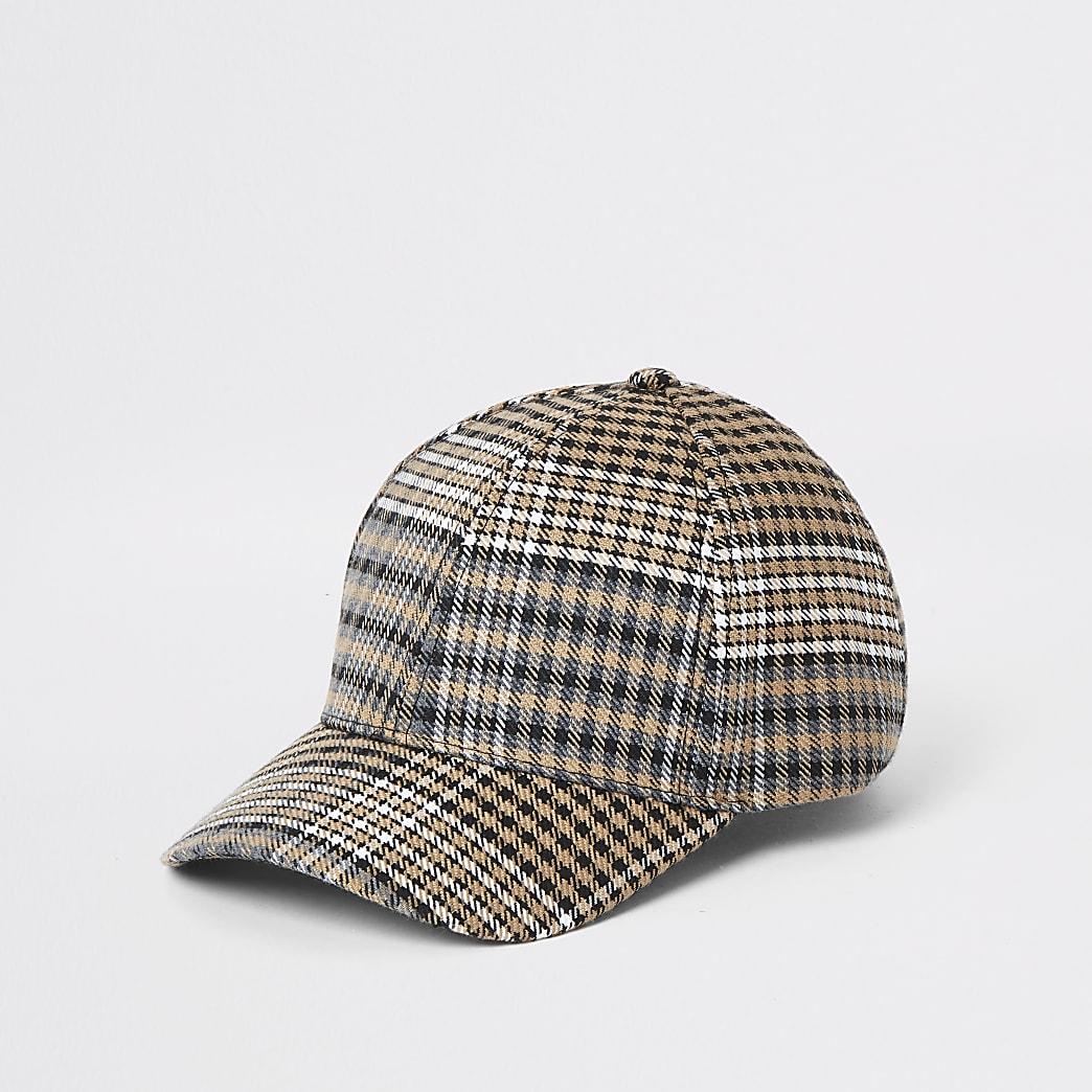 Brown check baseball cap