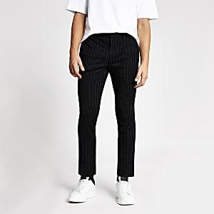 Elegante Super Skinny Hosen in Schwarz mit Streifen