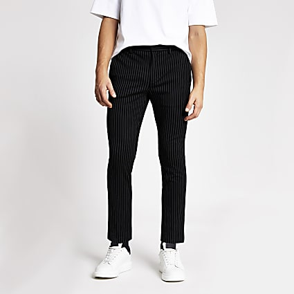 Black stripe super skinny smart trousers