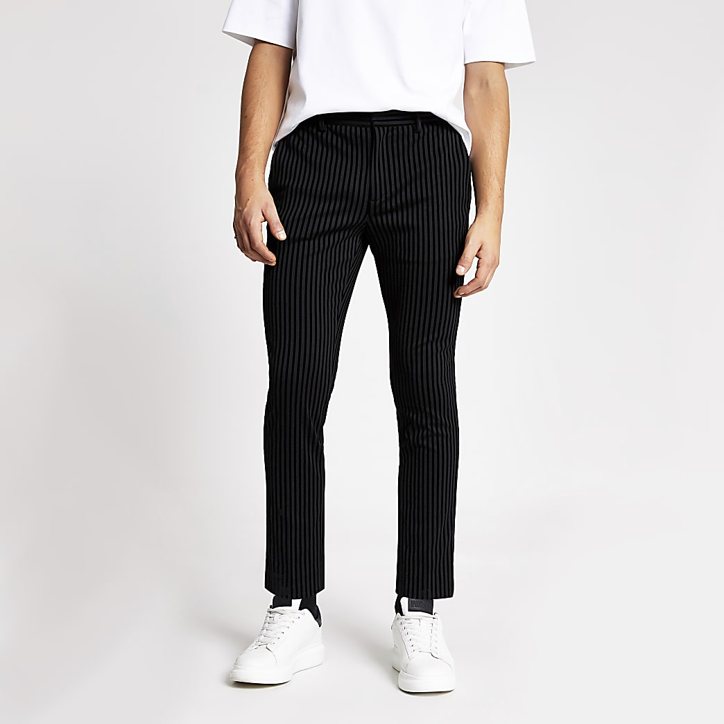 Smart Western black stripe skinny trousers