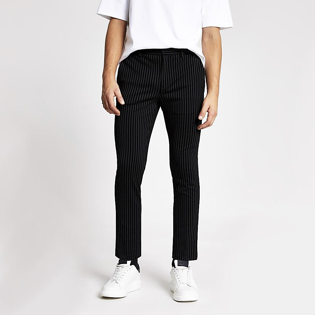 Smart Western - Zwarte gestreepte skinny broek