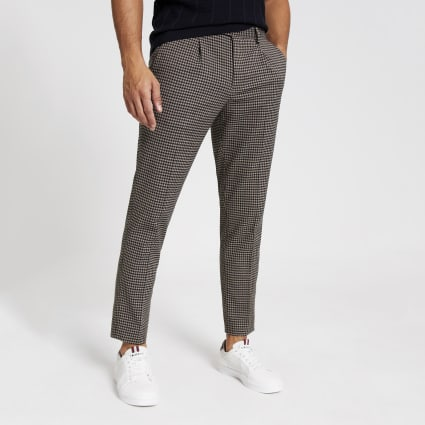 Brown check skinny pleated smart trousers