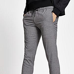 Pantalon de joggingà revers skinnyhabillé grisà carreaux