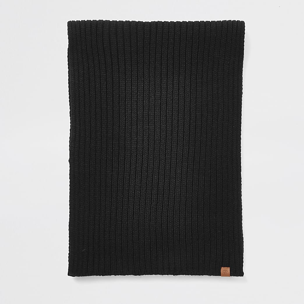 Prolific - Zwarte geribbelde gebreide sjaal