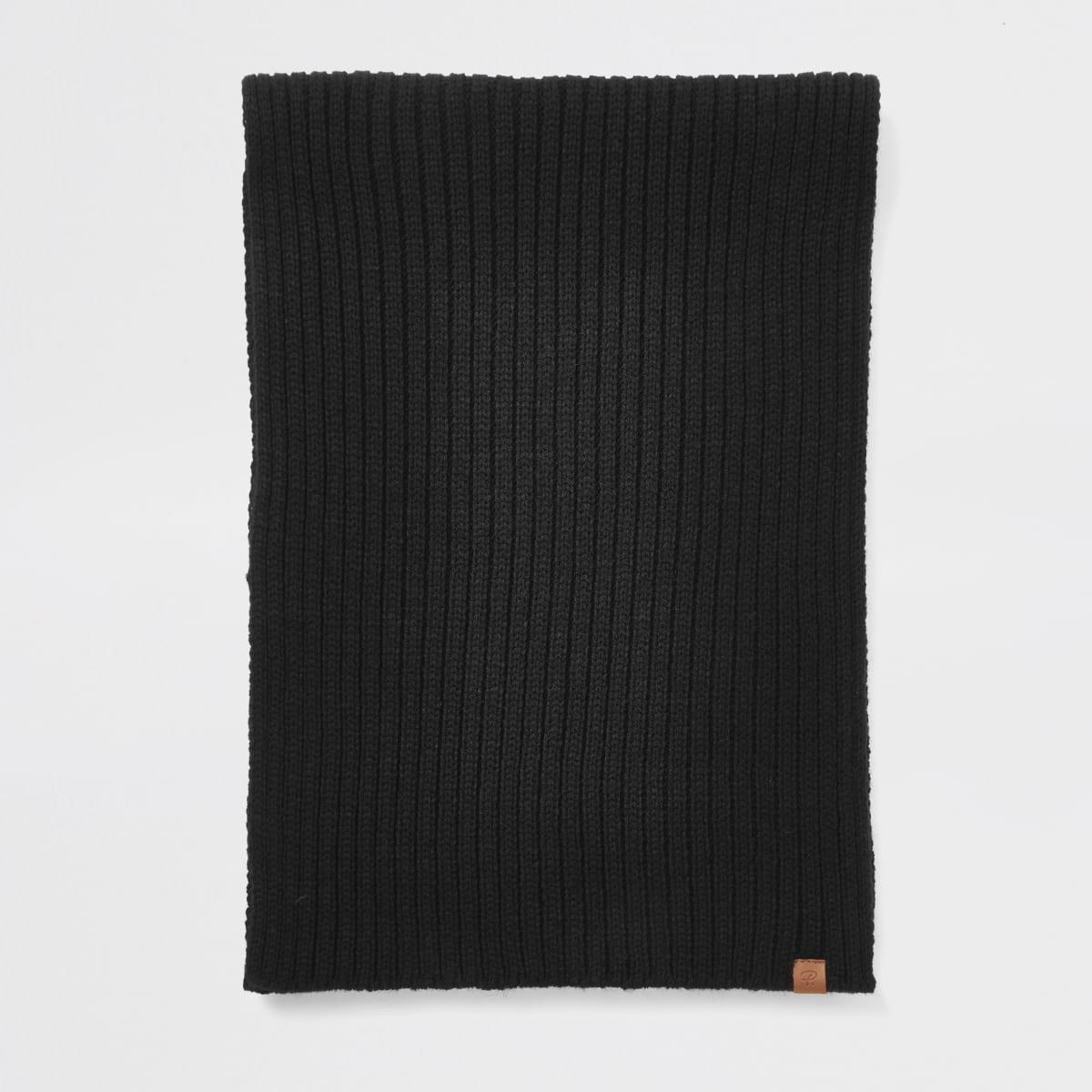 Black Prolific rib knitted scarf