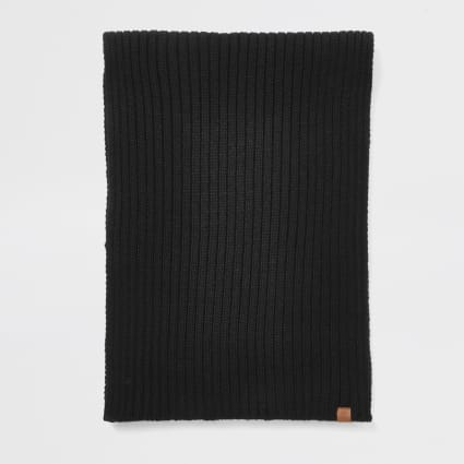 Black Prolific rib knitted scarf