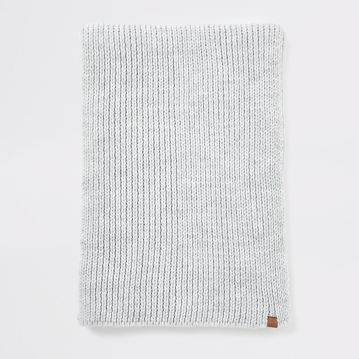 Light grey Prolific rib knitted scarf