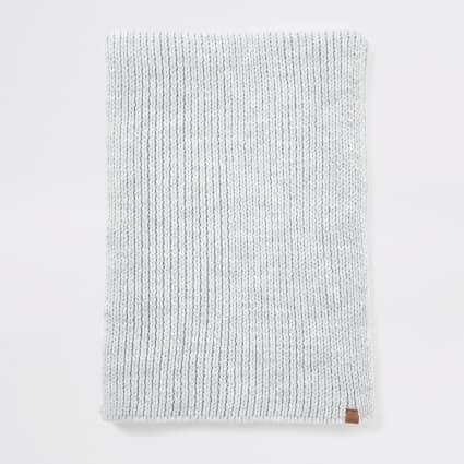Light grey Prolific rib knitted scarf