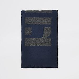 Schal mit RI-Monogramm in Marineblau