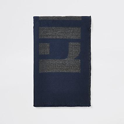 Navy RI monogram scarf