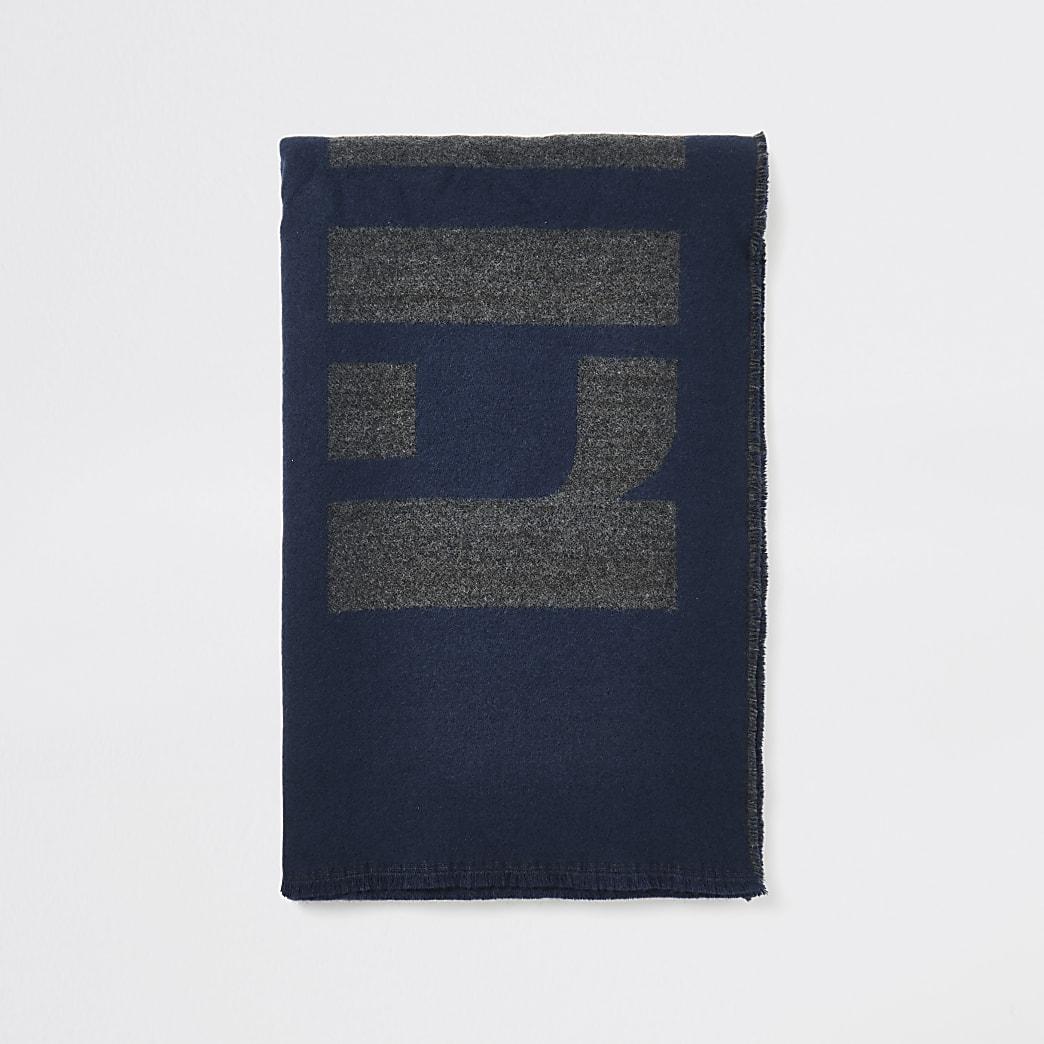 Marineblauwe sjaal met RI-monogram