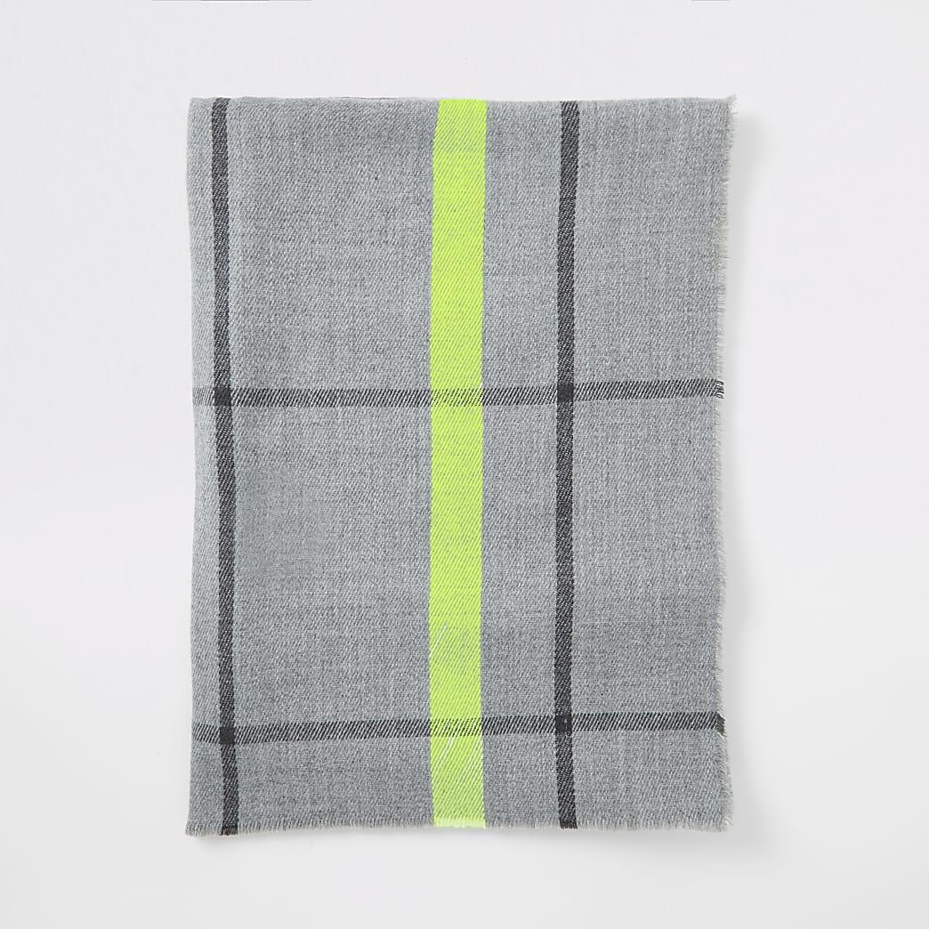 Grijze geruite brede sjaal met neon afwerking