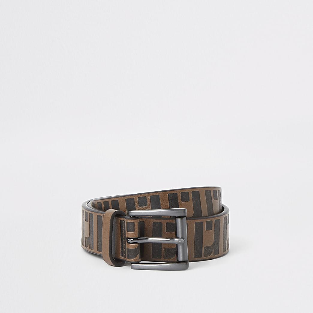 Dark brown RI monogram belt