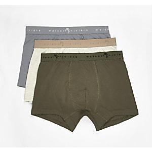 Set van 3 groene strakke boxers met Maison Riviera op de tailleband