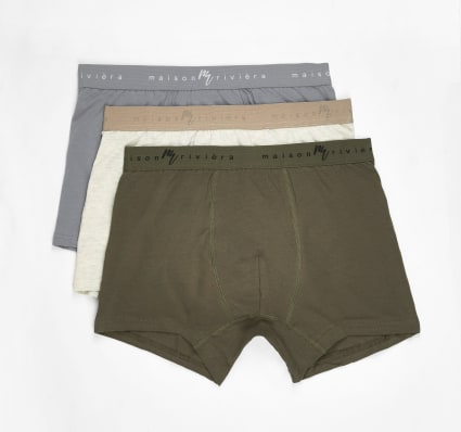 Green Maison Riviera waistband trunks 3 pack