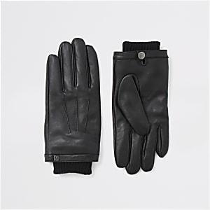 Schwarze Lederhandschuhe mit Bündchen