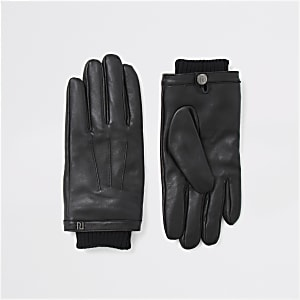 Zwarte leren handschoenen met manchetten