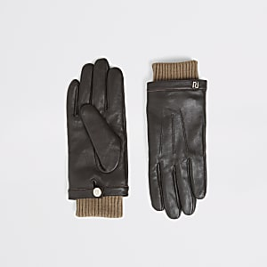Braune Lederhandschuhe mit gerippten Bündchen