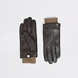 Bruine leren  handschoenen metgeribbelde boorden