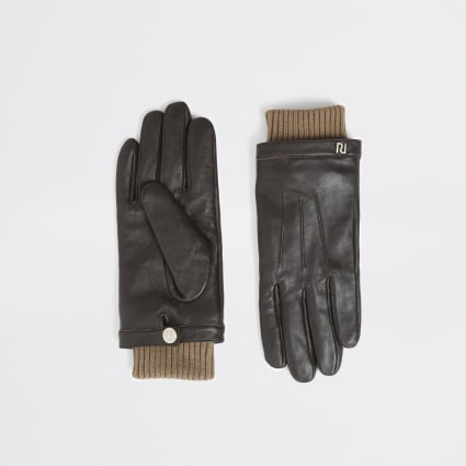 Brown leather ribbed cuff gloves
