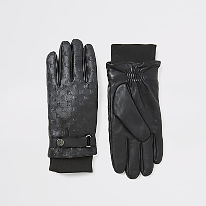 Black leather RI embossed cuffed gloves